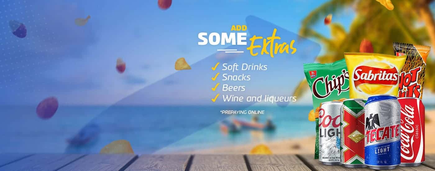 Beachfront drinks and snacks obtained during the Cancun Airport Transportation reservation process