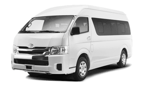 White passenger van designated for Cancun Airport Transportation Taxi